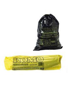 Komo vuilniszak 60 liter met trekband grijs 5 rollen