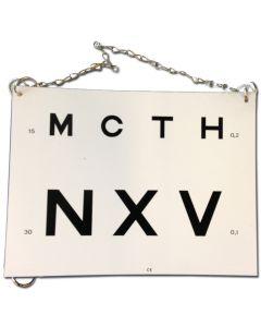 Wit kunststof Visuskaart Letters opvouwbaar leesafstand: 3 meter